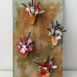 Flores preservadas y flores secas para colgar en la pared