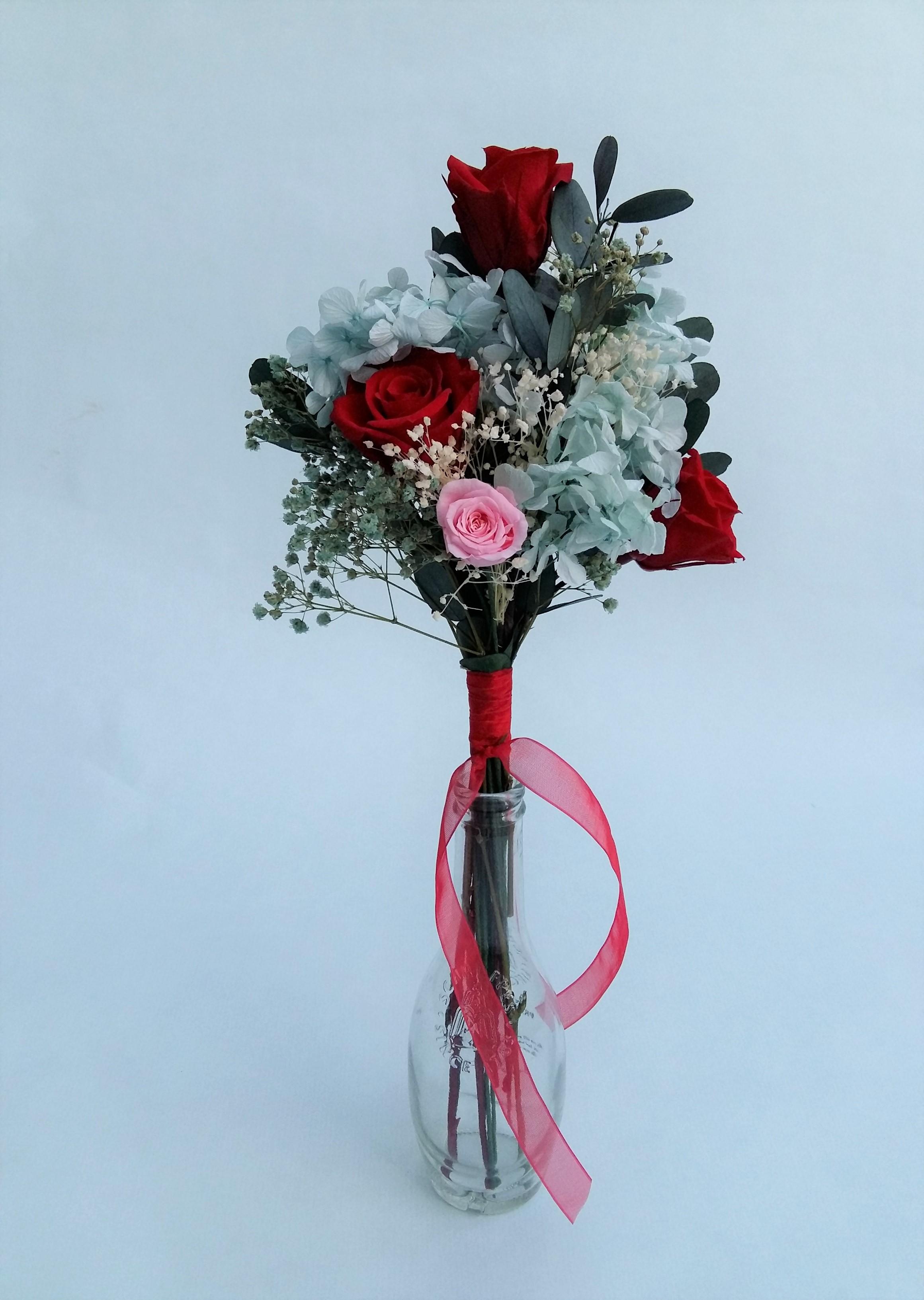 Ramo Rosas Rojas Y Hortensia Azul