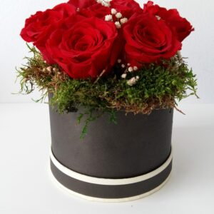Caja de rosas rojas preservadas. Terrassa. Sabadell . San Cugat