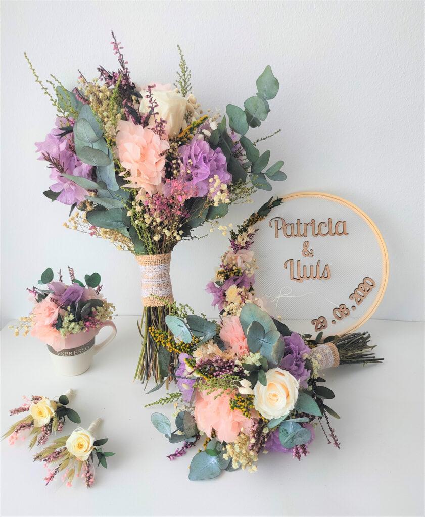 Ramo de novia de flores preservadas. Terrassa